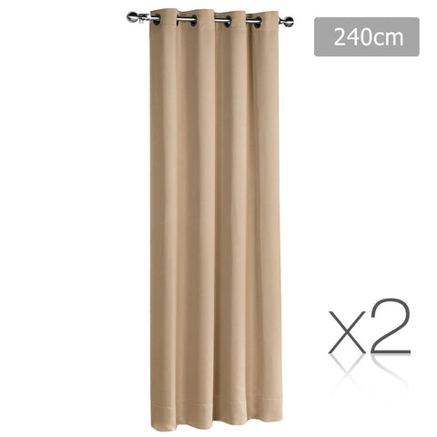 Set of 2 ArtQueen 3 Pass Eyelet Blockout Curtain Latte 240cm
