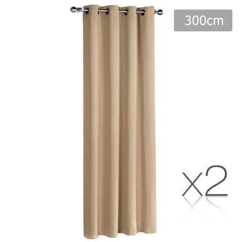 Set of 2 ArtQueen 3 Pass Eyelet Blockout Curtain Latte 300cm