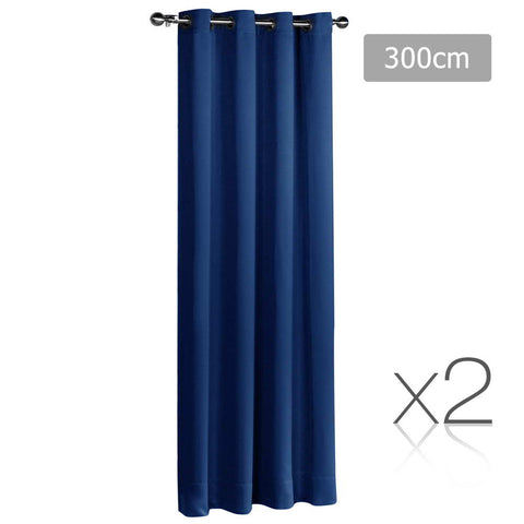 Set of 2 ArtQueen 3 Pass Eyelet Blockout Curtain Navy 300cm