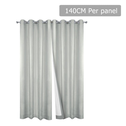 Art Queen 2 Panel 140 x 230cm Eyelet Blockout Curtains - Ecru