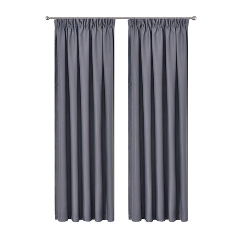 Art Queen 2 Pencil Pleat 180x213cm Blockout Curtains - Dark Grey