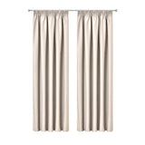 Art Queen 2 Pencil Pleat 300x230cm Blockout Curtains - Sand