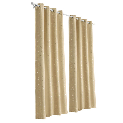 Art Queen 2 Star Blockout 240x213cm Blackout Curtains - Latte