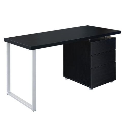Office Study Computer Desk w/ 3 Drawer Cabinet Black