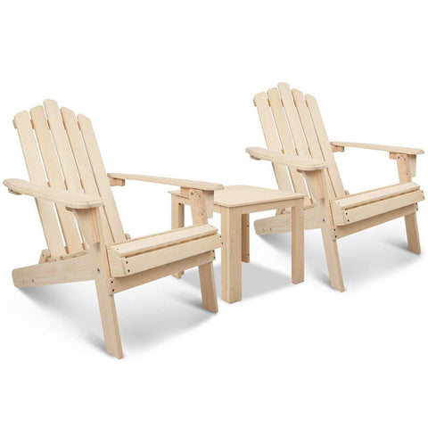Adirondack Chairs & Side Table  3 Piece Set - Natural