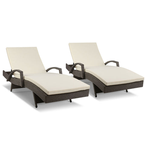 garden Outdoor Sun Lounge Chair with Cushion- Grey