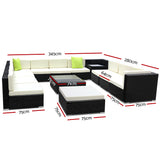 garden 13 Piece Outdoor Furniture Set Wicker Sofa Lounge