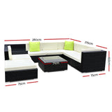 garden 9 Piece Outdoor Furniture Set Wicker Sofa Lounge