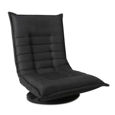Swivel Foldable Floor Chair - Black