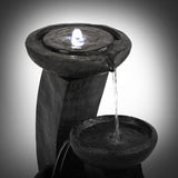 Solar Power Three-Tier Water Fountain Feature with LED Light - Blue