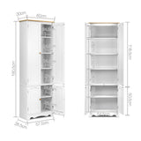Artiss 6 Tier Wooden Kitchen Pantry Cabinet - White
