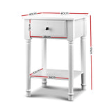Artiss Bedside Table Nightstand Side Table Timber Legs White