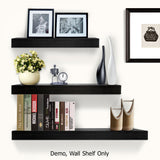 3 pcs Wall Floating Shelf Set Bookshelf Display Black