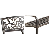 garden Cast Iron Garden Bench - Bronze