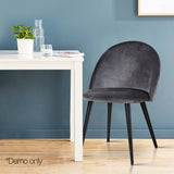 Artiss Velvet Modern Dining Chair - Dark Grey