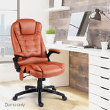 8 Point PU Leather Reclining Massage Chair - Tan