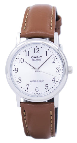 Casio Quartz Silver Dial Brown Leather MTP-1095E-7BDF MTP1095E-7BDF Men's Watch