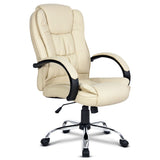 Executive PU Leather Office Desk Computer Chair - Beige