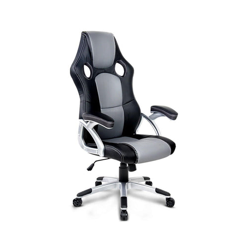 PU Leather Racing Style Office Desk Chair - Black & Grey