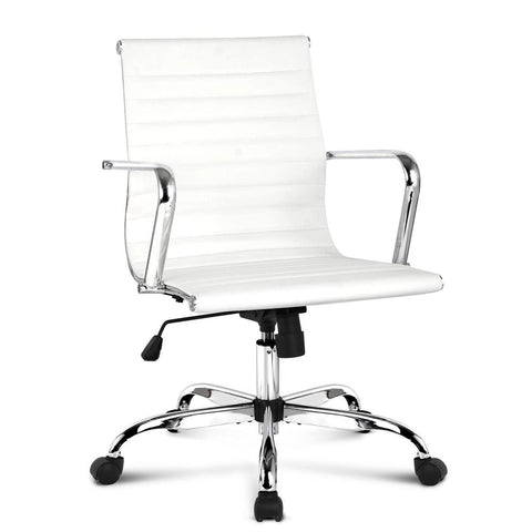PU Leather Office Desk Chair - White