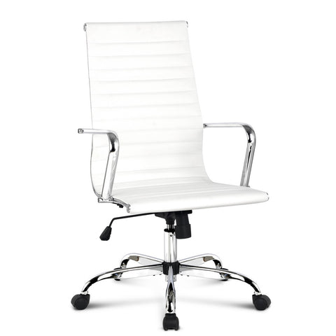 PU Leather High Back Office Desk Chair - White