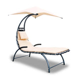 Gardeon Outdoor Lounge Chair with Shade - Beige