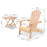 Gardeon 3 Piece Wooden Table and Chair Set - Natural Wood