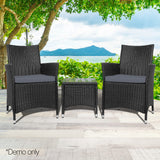 3-piece Outdoor Chair and Table Set Black