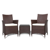 garden 3pc Rattan Bistro Wicker Outdoor Furniture Set Brown