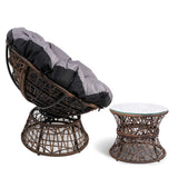 garden Papasan Chair and Side Table - Brown