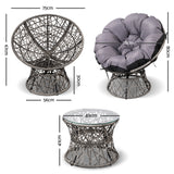 garden Papasan Chair and Side Table - Grey