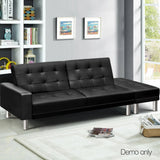 Artiss 3 Seater PU Leather Sofa Bed - Black