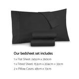 Giselle Bedding Queen Size 1000TC Bedsheet Set - Black