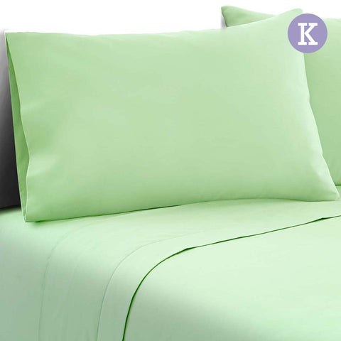 4 Piece Microfibre Sheet Set King – Green