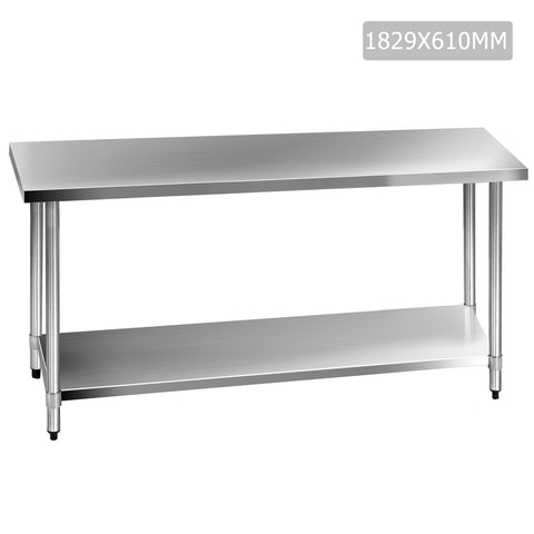 430 Stainless Steel Kitchen Work Bench Table 1829mm