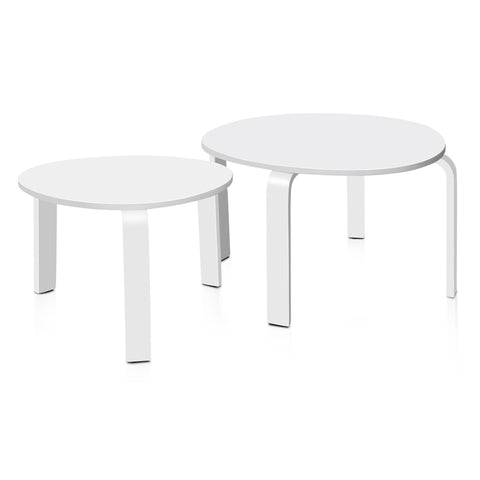 Artiss 2 Piece Wooden Coffee Table - White