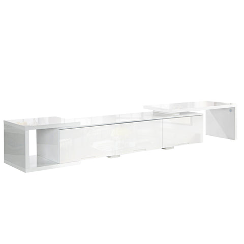 High Gloss Adjustable TV Stand Entertainment Unit 290 cm White