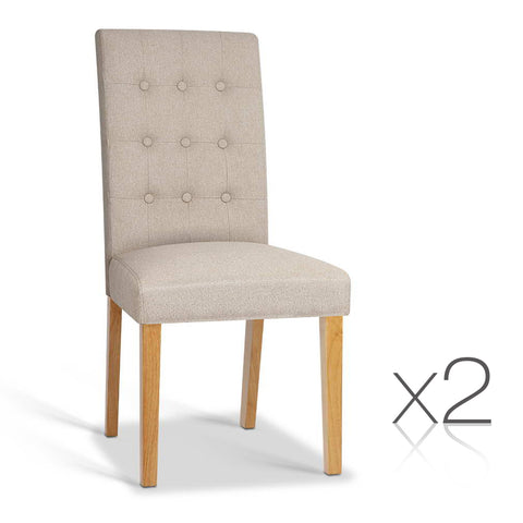 Set of 2 Fabric Dining Chair Beige