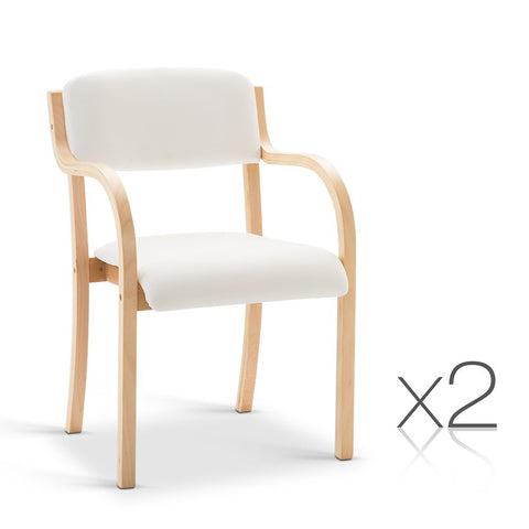 Artiss Set of 2 PU leather Dining Chair - White