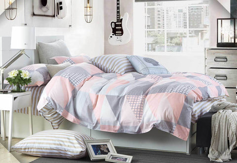 King Size Cotton Pink Blue Zig Zag Quilt Cover Set (3PCS)