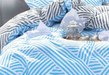 Queen Size Blue Zag Reversible Quilt Cover Set(3PCS)