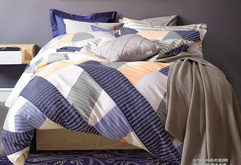 Queen Size Cotton Blue Orange Striped Quilt Cover Set (3PCS)