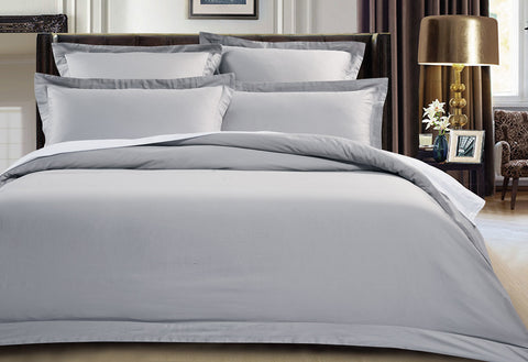 Queen Size 500TC Cotton Sateen Quilt Cover Set (Silver Color)
