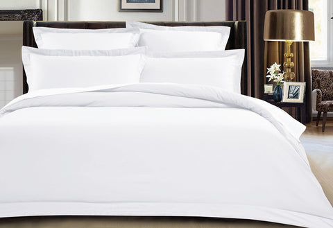 Queen Size 500TC Cotton Sateen Quilt Cover Set (White Color)
