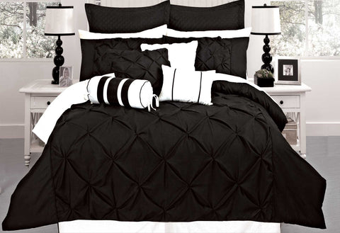 Queen Size Black Diamond Pintuck Quilt Cover Set(3PCS)