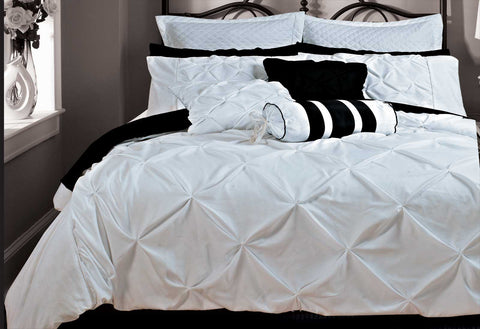 Queen Size White Diamond Pintuck Quilt Cover Set(3PCS)