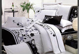 Queen Size Embroidery Tree and Leaf Pattern White Quilt Cover Set (3PCS)