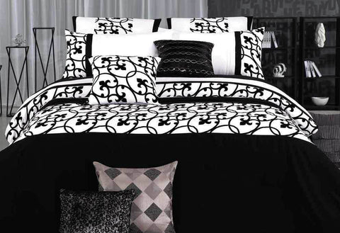 Queen Size White and Black Flocking Quilt Cover Set(3PCS)