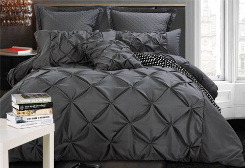 Queen Size Charcoal Diamond Pintuck Quilt Cover Set(3PCS)