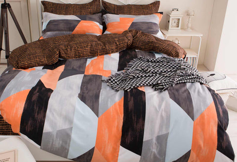 King Size Orange and Black Geometric Quilt Cover Set (3PCS)